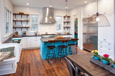 厨房白色背景墙混搭风格装潢设计图片