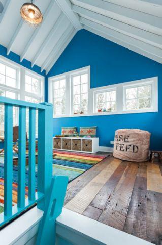 儿童房蓝色背景墙混搭风格装潢图片