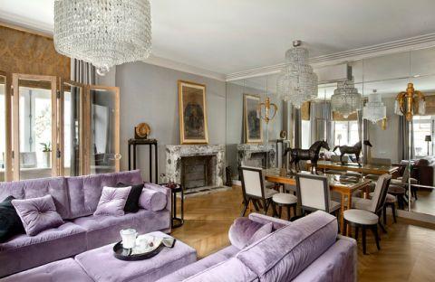 客厅紫色沙发混搭风格装饰效果图