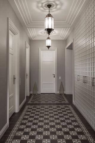 玄关灰色走廊混搭风格装潢效果图