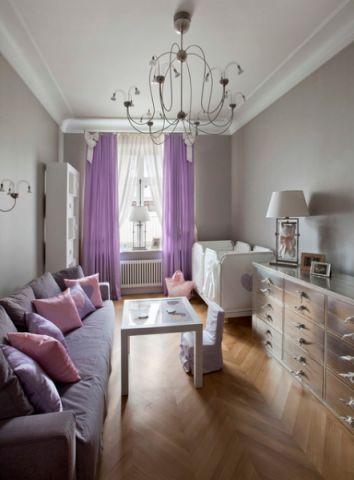 儿童房紫色窗帘混搭风格装修设计图片