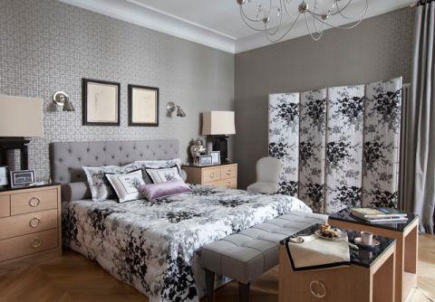 卧室灰色床混搭风格装潢设计图片
