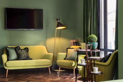 客厅绿色沙发混搭风格装修效果图