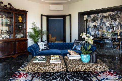 客厅蓝色沙发混搭风格装饰效果图