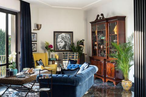 客厅蓝色沙发混搭风格装饰图片