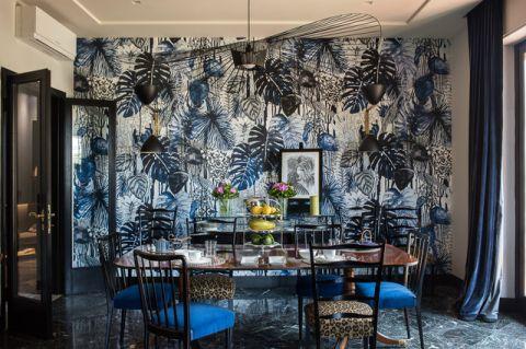餐厅彩色背景墙混搭风格装潢图片