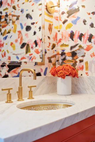 卫生间彩色细节混搭风格装饰设计图片