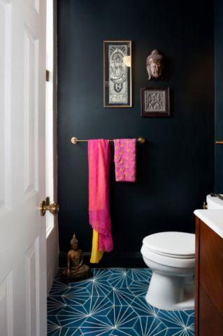 卫生间蓝色背景墙混搭风格装饰效果图