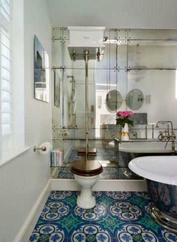 卫生间彩色细节混搭风格装饰效果图
