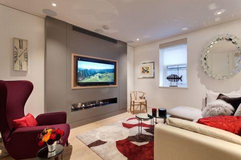 客厅白色背景墙现代风格装饰图片