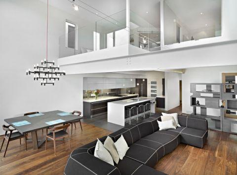 客厅黑色沙发现代风格效果图