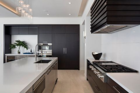 厨房灰色厨房岛台现代风格装潢效果图