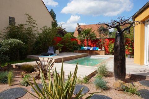 花园咖啡色泳池现代风格效果图