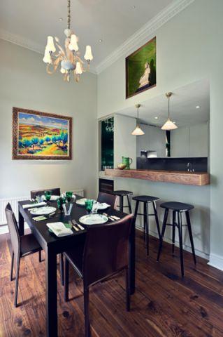 餐厅咖啡色餐桌现代风格装潢效果图