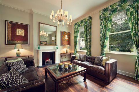 客厅咖啡色沙发现代风格装修图片