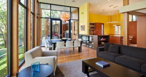 餐厅黄色背景墙现代风格装饰设计图片