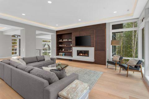 客厅咖啡色背景墙现代风格装潢设计图片