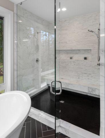卫生间绿色推拉门现代风格装饰效果图