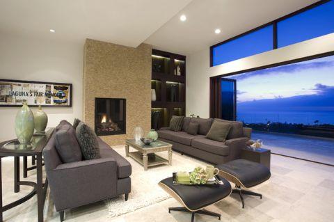 客厅米色背景墙现代风格装修设计图片