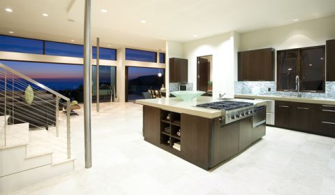厨房黑色厨房岛台现代风格装修效果图