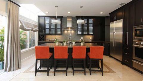 厨房黑色吧台现代风格装潢图片