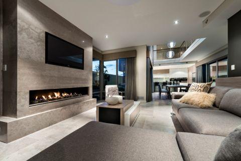 客厅灰色背景墙现代风格装饰效果图