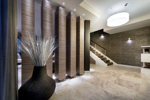 玄关灰色楼梯现代风格装潢效果图