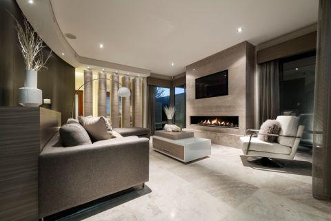 客厅灰色沙发现代风格装修图片