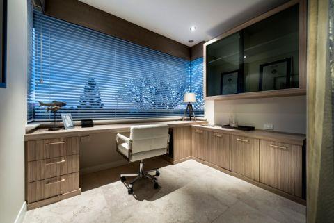 书房咖啡色书桌现代风格装潢图片