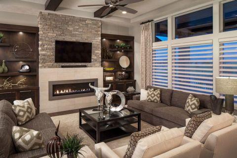 客厅灰色背景墙现代风格装潢图片