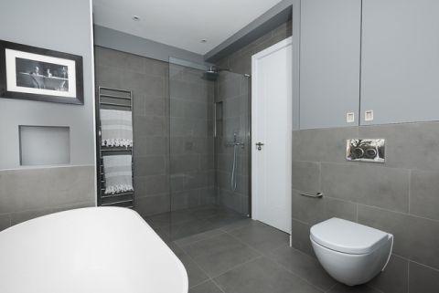 卫生间灰色背景墙现代风格装潢效果图