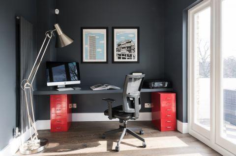 书房灰色照片墙现代风格装修图片