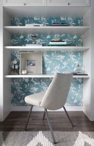 书房白色背景墙现代风格装修设计图片