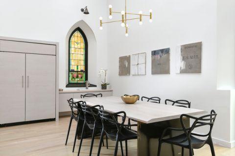 餐厅黄色灯具现代风格装饰设计图片