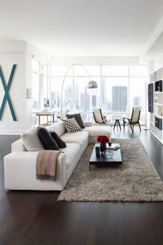客厅白色细节现代风格装潢图片