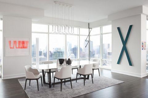 餐厅白色背景墙现代风格效果图
