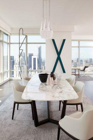 餐厅白色背景墙现代风格装修效果图