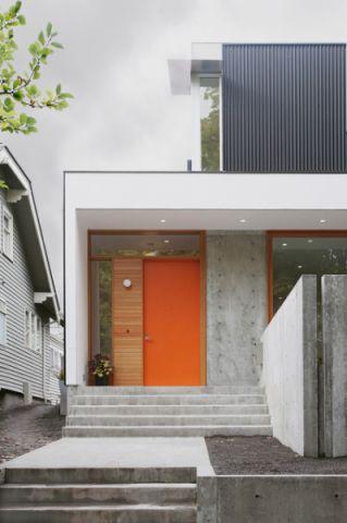 玄关橙色推拉门现代风格装修图片