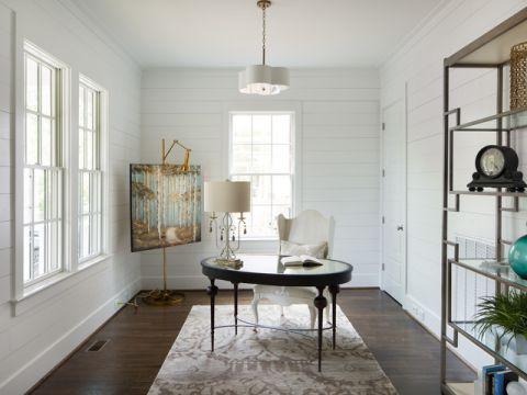 书房白色背景墙美式风格装修图片
