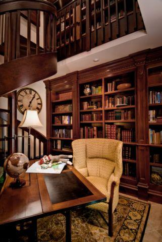 书房红色细节美式风格装饰效果图