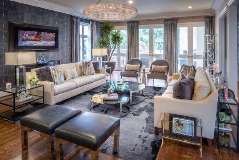 客厅地砖美式风格装修图片