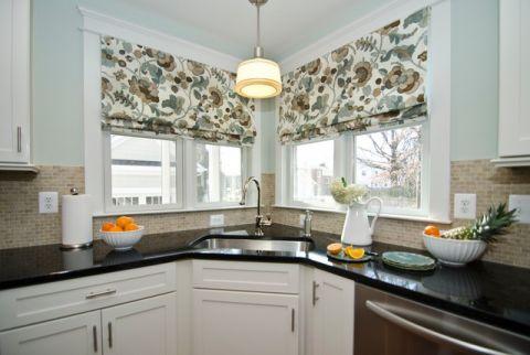 厨房窗帘美式风格装饰设计图片