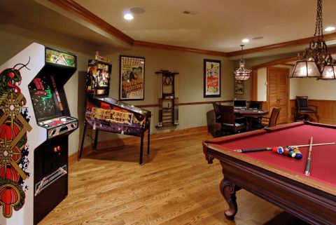 客厅地下室美式风格装潢设计图片