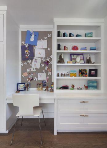 儿童房白色书架美式风格装修设计图片