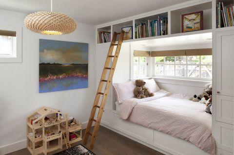 儿童房白色飘窗美式风格装潢设计图片