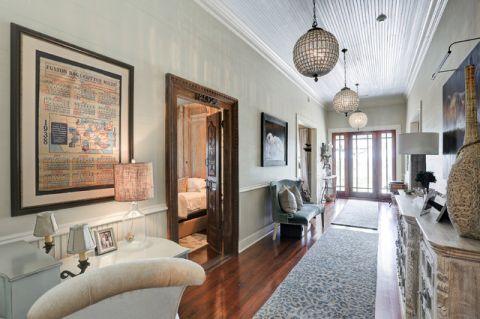 客厅白色走廊美式风格装修图片