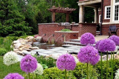 花园背景墙简欧风格装潢图片