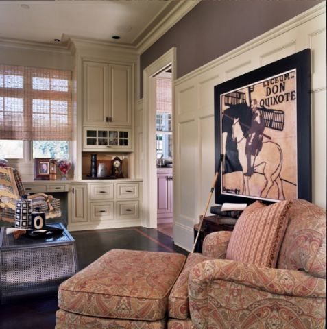 书房背景墙简欧风格装潢效果图