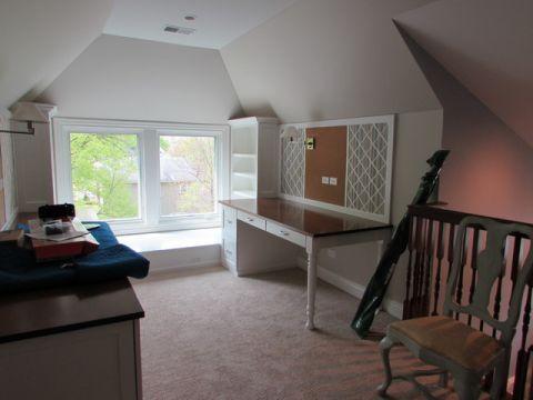 书房白色吊顶简欧风格装修设计图片