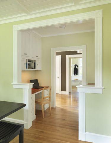 书房绿色背景墙简欧风格装饰效果图